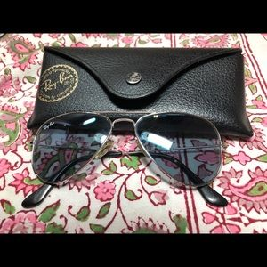 Ray Ban Aviator Small Silver w/Crystal Blue 52mm